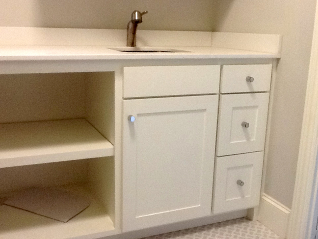 custom washroom cabinets